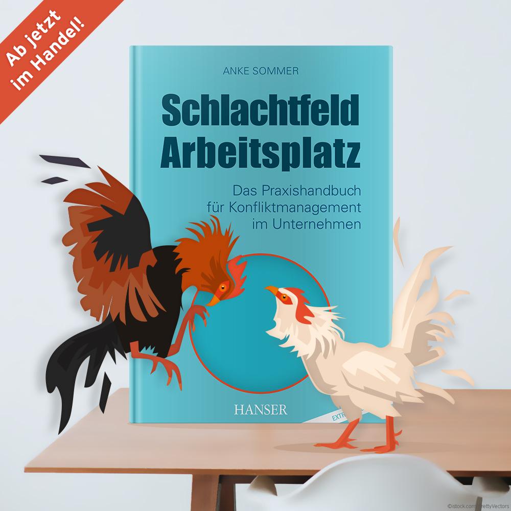 """quadratischer Banner: Buch von der Autorin Anke Sommer """"Schlachtfeld Arbeitsplatz"""""""